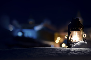 Old Gas Lamp On The Snow