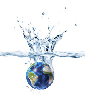 Planet Earth, splashing into clear water.