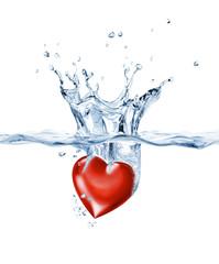 Shining heart, splashing into clear water.