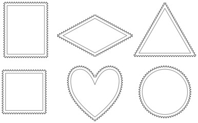 Variations of postage stamp templates in the shape of a rectangle, rhombus, triangle, square, heart and circle. Illustration on white background. Vector.