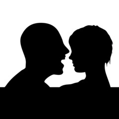 couple head black silhouette