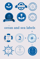 ocean and sea labels and stamp vector
