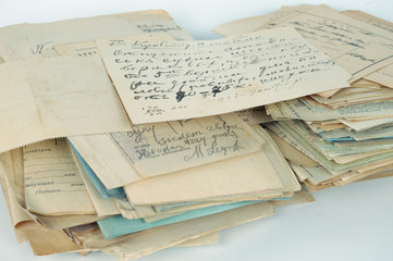 stack of old documents isolated