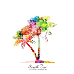 abstract colorful vector palm tree