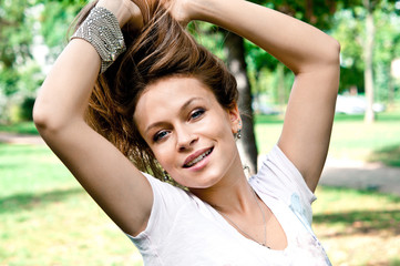 attractive woman outdoors portrait