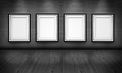 Empty picture frames in the art gallery wood black white room