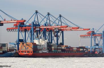Containerschiff Hafenkräne