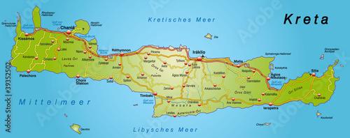 landkarte von kreta Landkarte von Kreta mit Autobahnen