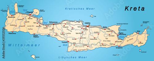 landkarte von kreta Landkarte von Kreta in orange
