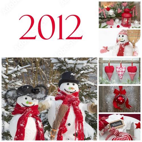 weihnachten 2012 collage in rot stockfotos und. Black Bedroom Furniture Sets. Home Design Ideas
