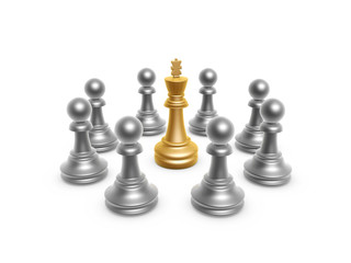 king surrounded by pawn
