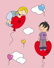 Niños enamorados. Primer amor