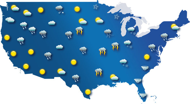 Weather map of the United States