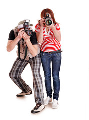 Professional photographer with digital camera.