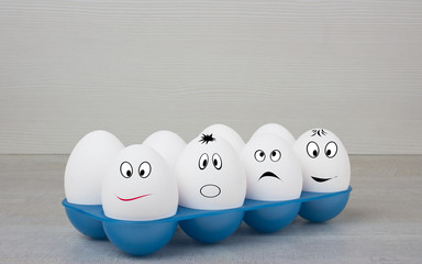 smile white row eggs