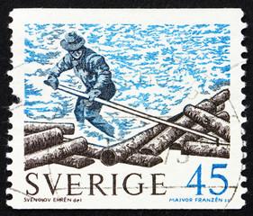 Postage stamp Sweden 1970 Log Roller