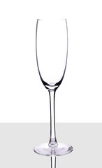 Empty champagne glass, isolated on a white background