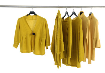 Closeup female jacket and yellow casual shirts