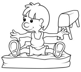 Gymnast - Black and White Cartoon Illustration