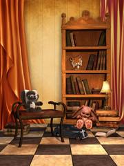 Pokój dziecięcy z książkami i zabawkami