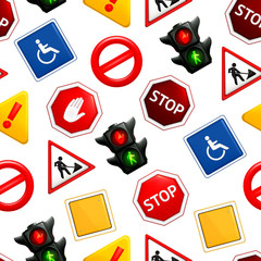 Road signs, seamless pattern