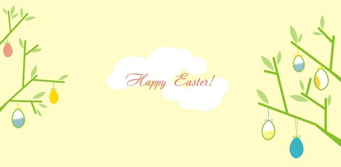 Easter greeting card with branches