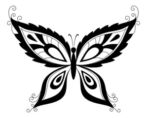 Butterfly, black silhouettes