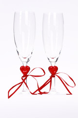 Two champagne glass for celebration of Valentines day