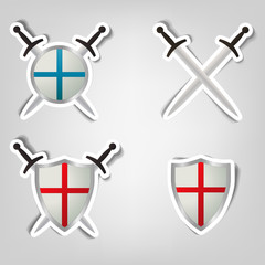 set of stickers with a picture of shields and swords