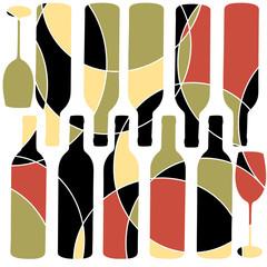 Mosaic style retro wine background