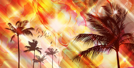 Wall Mural - Palm trees at sunset