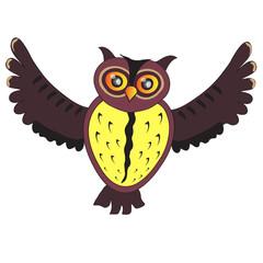 Cartoon flying Owl (vector version)