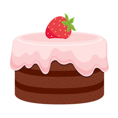 Chocolate cake with pink cream and strawberry