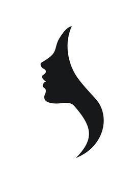 Beautiful profile of young woman- vector