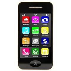 Smartphone frontal mit Apps