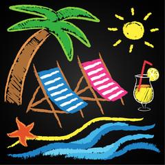 Kreidetafel, Strandurlaub