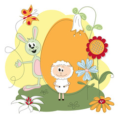 Easter greeting card with cheerful rabbit and lamb
