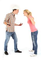 Junges Pärchen beim streiten