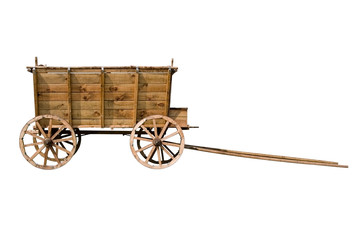 Old wooden wagon isolated on
