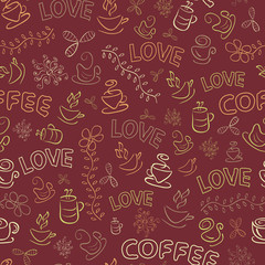 Seamless Coffee Pattern with Love Word