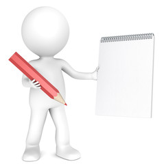 3D little human character holding a Notepad and a Red Pencil.