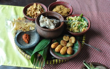 Repas indonésien à Java