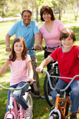 Hispanic family riding bikes in park