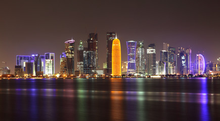 Wall Mural - Doha skyline at night, Qatar, Middle East