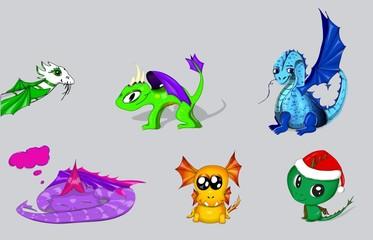 vector set of cartoon dragons