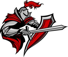 Knight Warrior Mascot Stabbing with Sword and Shield Vector Imag