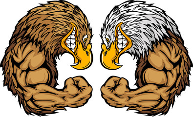 Eagle Mascots Flexing Arms Vector Cartoon