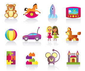 Various children's toys - vector illustration
