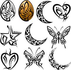Tattoo Egg, Moon, Heart, Butterfly