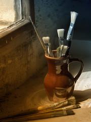Still life of painter's tools